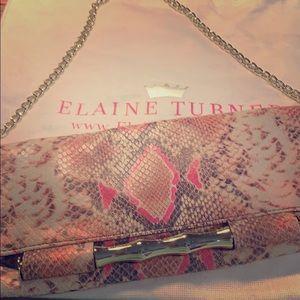 Elaine Turner python/snake skin leather clutch